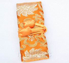 handmade silk dark yellow colors Jewelry bags pouches roll T781A11
