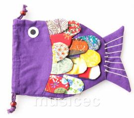 New Fashion purple Chinese handmade FLAX fish bag purse T744A20E7