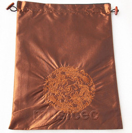 dragon pattern coffee embroidery silk shoes bag pouch T728A7E3