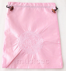 dragon pattern pink embroidery silk shoes bag pouch T722A7E3