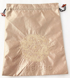 dragon pattern light coffee embroidery silk shoes bag pouch T717A7E3