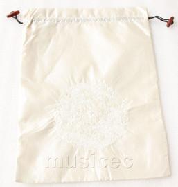 dragon pattern Cream white embroidery silk shoes bag pouch T716A7E3
