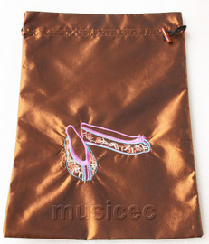 antiquity shoes pattern coffee embroidery silk shoes bag pouch T706A66E3