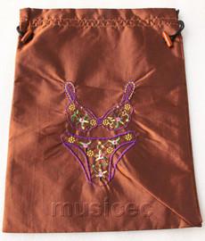 Bikini pattern coffee embroidery silk shoes bag pouch T687A74E3