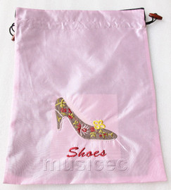 high-heel shoe pattern pink silk embroidery shoes bag pouch T675A6E3
