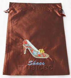 high-heel shoe pattern light coffee silk embroidery shoes bag pouch T670A6E3