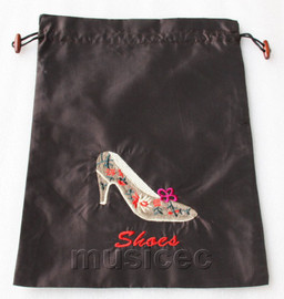 high-heel shoe pattern dark coffee silk embroidery shoes bag pouch T667A6E3
