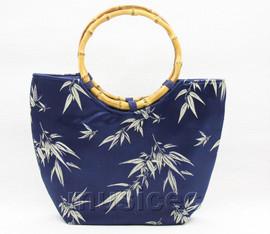 popular navy-blue silk handbag bag purses bamboo rein T652A28E11