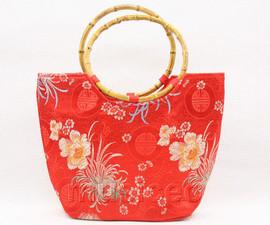 popular red flower silk handbag bag purses bamboo rein T651A28E11