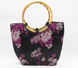 popular black silk handbag bag purses bamboo rein T649A28E11