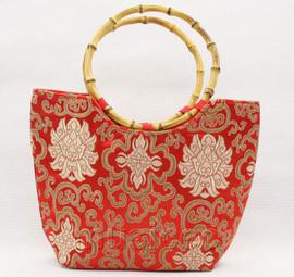 popular red silk handbag bag purses bamboo rein T648A28E11