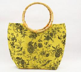 popular yellow silk handbag bag purses bamboo rein T647A28E11