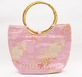 popular pink silk handbag bag purses bamboo rein T645A28E11