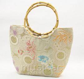 popular champagne silk handbag bag purses bamboo rein T644A28E11