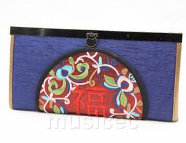 oriental style blue embroiderd silk handbag bags purses T635A18