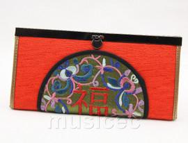oriental style dark red embroiderd silk handbag bags purses T634A18