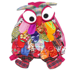 27X36cm pink-red Chinese handmade FLAX OWL bag purse T619A54