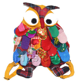 27X36cm yellow Chinese handmade FLAX OWL bag purse T618A54