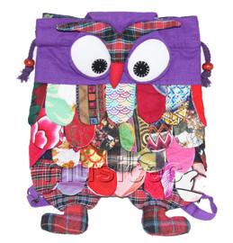 27X36cm purple Chinese handmade FLAX OWL bag purse T617A54