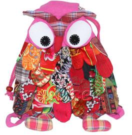 27X36cm pink-purple Chinese handmade FLAX OWL bag purse T616A54