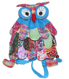 Brand-New 23X33cm sky blue Chinese handmade FLAX OWL bag purse T614A28