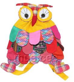 Brand-New 23X33cm yellow Chinese handmade FLAX OWL bag purse T611A28