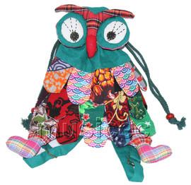 Brand-New 23X33cm green Chinese handmade FLAX OWL bag purse T610A28