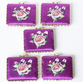 5piece purple oblong embroider silk Carrying Makeup Mirror T579A4E11