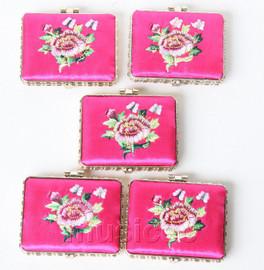 5piece pink oblong embroider silk Carrying Makeup Mirror T578A4E11