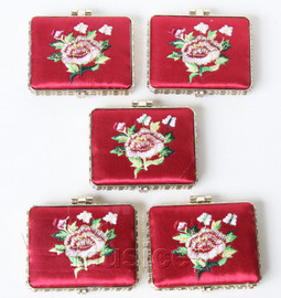 5piece wine red oblong embroider silk Carrying Makeup Mirror T577A4E11