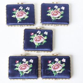 5piece blue oblong embroider silk Carrying Makeup Mirror T575A4E11