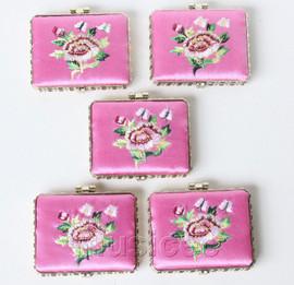 5piece pink oblong embroider silk Carrying Makeup Mirror T574A4E11
