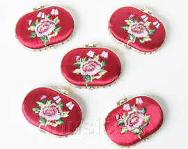 5piece wine red ellipse embroider silk Carrying Makeup Mirror T573A4E11
