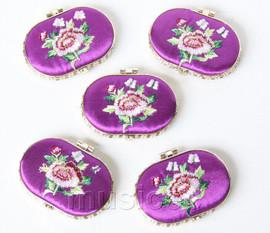 5piece purple ellipse embroider silk Carrying Makeup Mirror T571A4E11