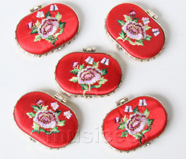 5piece red ellipse embroider silk Carrying Makeup Mirror T567A4E11