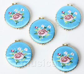5piece sky-blue round embroider silk Double-Sided Makeup Mirror T565A4E11