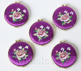 5piece purple round embroider silk Double-Sided Makeup Mirror T562A4E11