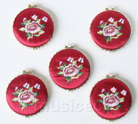 5piece wine red round embroider silk Double-Sided Makeup Mirror T561A4E11