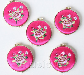 5piece pink-red round embroider silk Double-Sided Makeup Mirror T560A4E11