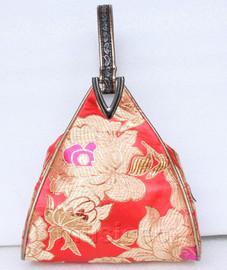 popular red triangle Embroider silk handbag bag purses T542A19E9