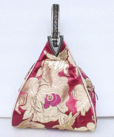 popular wine red triangle Embroider silk handbag bag purses T540A19E9