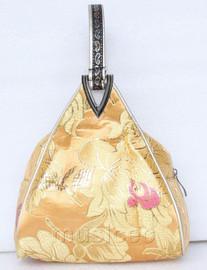 popular yelloe champagne triangle Embroider silk handbag bag purses T539A19E9