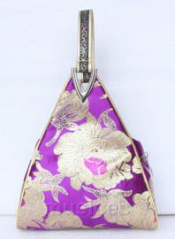 popular purple triangle Embroider silk handbag bag purses T535A19E9