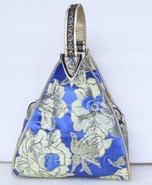 popular blue triangle Embroider silk handbag bag purses T534A19E9