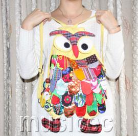 Brand-New Fashion light yellow Chinese handmade FLAX OWL bag purse T465A66