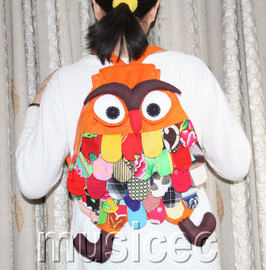 Brand-New Fashion yellow apricot Chinese handmade FLAX OWL bag purse T464A66