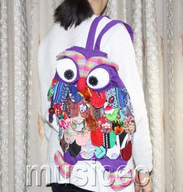 Brand-New Fashion purple Chinese handmade FLAX OWL bag purse T463A66