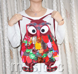 Brand-New Fashion dark red Chinese handmade FLAX OWL bag purse T462A66