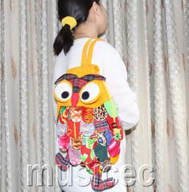 Brand-New Fashion yellow Chinese handmade FLAX OWL bag purse T461A66