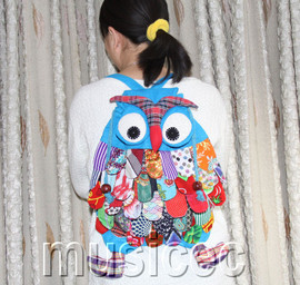 Brand-New Fashion sky-blue Chinese handmade FLAX OWL bag purse T460A66